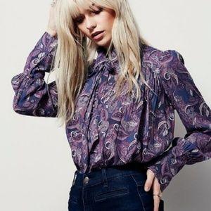 Free people M purple paisley modern muse blouse